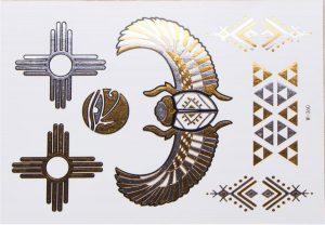 planche de tatouages temporaires dorés