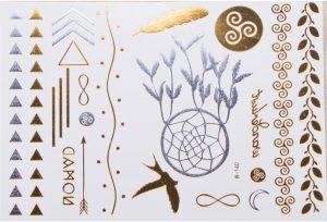 planches de tatouages temporaires argentés